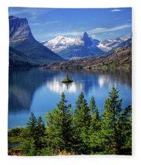 Saint Mary Lake And Wild Goose Island Fleece Blanket