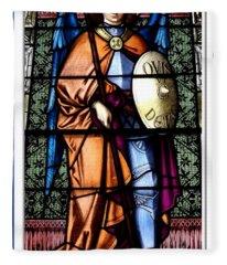 Saint Michael The Archangel Stained Glass Window Fleece Blanket