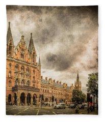 London, England - Saint Pancras Station Fleece Blanket