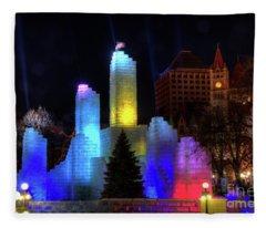Saint Paul Winter Carnival Ice Palace 2018 Lighting Up The Town Fleece Blanket