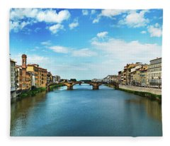 Panoramic View Of Saint Trinity Bridge From Ponte Vecchio In Florence, Italy Fleece Blanket
