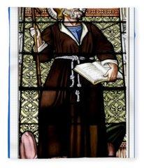 Saint William Of Aquitaine Stained Glass Window Fleece Blanket