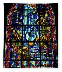 Sainte-mere-eglise Paratrooper Tribute Stained Glass Window Fleece Blanket