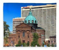 Saints Peter And Paul And Sheraton Hotel In Philadelphia  Fleece Blanket