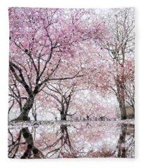 Sakura Spring Pink Fleece Blanket