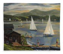 Sailing At Lake Morey Vermont Fleece Blanket