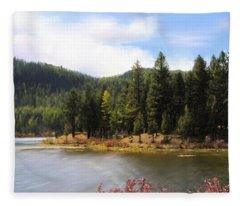 Salmon Lake Montana Fleece Blanket