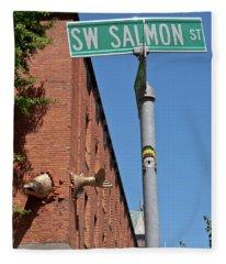Salmon Through A Building Fleece Blanket