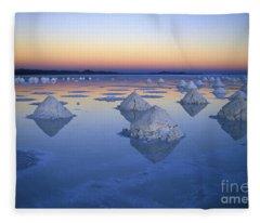 Salt Cones At Sunset Fleece Blanket