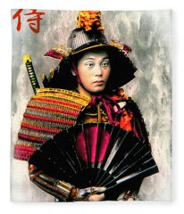 Samurai 1898 With Iron Fan Fleece Blanket