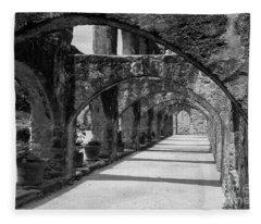San Antonio Mission Arches In Black And White Fleece Blanket