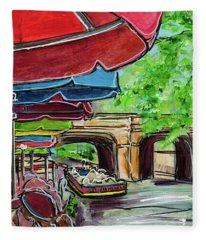 San Antonio River Walk Cafe Fleece Blanket