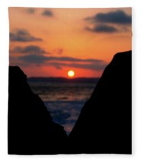 San Clemente Beach Rock View Sunset Portrait Fleece Blanket