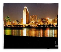 San Diego Skyline With Reflections On Mission Bay Fleece Blanket
