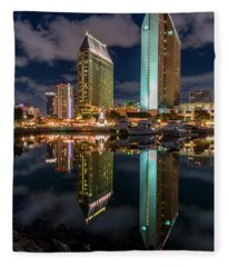 San Diego Clouds And Reflections Fleece Blanket