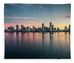 San Diego Skyline At Dawn Fleece Blanket