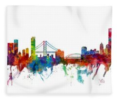 San Francisco And Pittsburgh Skylines Mashup Fleece Blanket