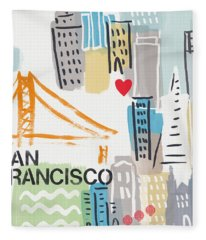 San Francisco Cityscape- Art By Linda Woods Fleece Blanket