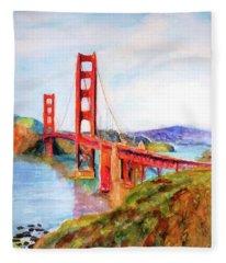 San Francisco Golden Gate Bridge Impressionism Fleece Blanket
