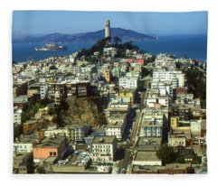 San Francisco - Telegraph Hill And Alcatraz Fleece Blanket