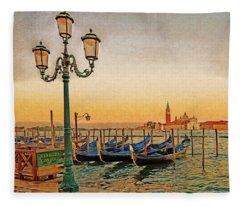 San Giorgio Maggiore Venice Gondolas Fleece Blanket