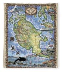 San Juan Island, San Juan Islands Map, Hand-painted Historic Map, Island Art, Northwest Art Fleece Blanket