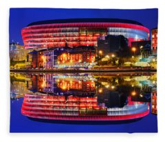 San Mames Stadium At Night With Water Reflections Fleece Blanket