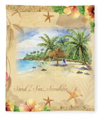 Sand Sea Sunshine On Tropical Beach Shores Fleece Blanket