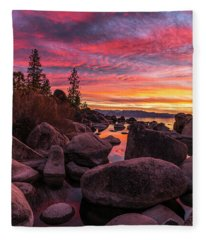 Sand Harbor Beach Fleece Blanket