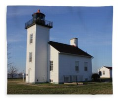 Sand Point Lighthouse In Escanaba Fleece Blanket
