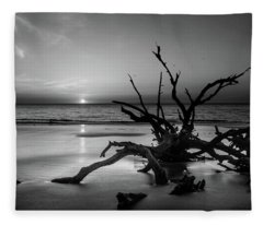 Sand Surf And Driftwood In Black And White Fleece Blanket