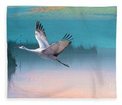 Sandhill Crane And Misty Marshes Fleece Blanket