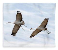 Sandhill Crane Approach Fleece Blanket