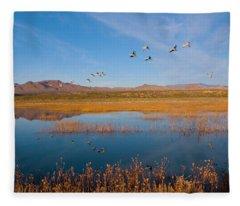 Sandhill Cranes In Flight Fleece Blanket