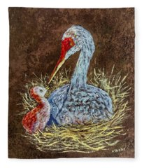Sandhill Cranes In Nest Fleece Blanket