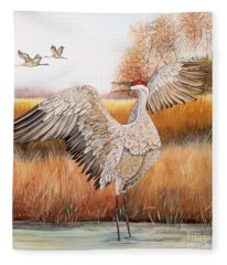 Sandhill Cranes-jp3163 Fleece Blanket