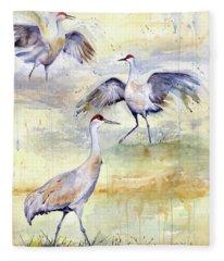 Wetlands Courtship - Sandhill Cranes Fleece Blanket