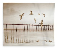 Sandpipers In Sepia Fleece Blanket