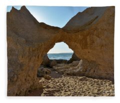 Sandstone Arch In Gale Beach. Algarve Fleece Blanket