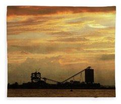 Sandusky Coal Dock Sunset Fleece Blanket