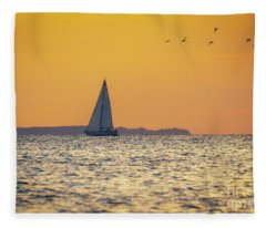 Sandy Hook Bay Sunset  Fleece Blanket