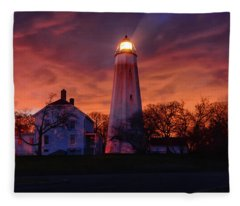 Sandy Hook Lighthouse Fleece Blanket