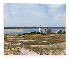 Sandy Neck Lighthouse With Fishing Boat Fleece Blanket