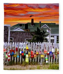Sandy Neck Sunset Fleece Blanket
