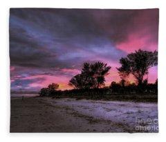 Sanibel Island Twilight Fleece Blanket