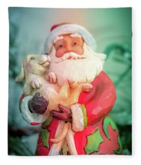 Santa And Lab Pup Fleece Blanket