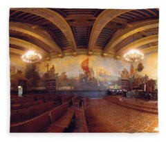 Santa Barbara Court House Mural Room Photograph Fleece Blanket
