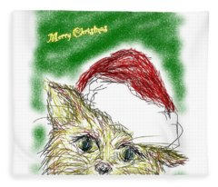 Santa Cat Fleece Blanket