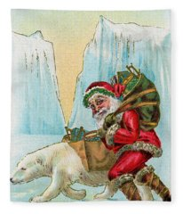 Santa Claus With A Polar Bear At The North Pole Fleece Blanket
