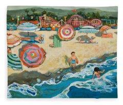 Santa Cruz Beach Boardwalk Fleece Blanket